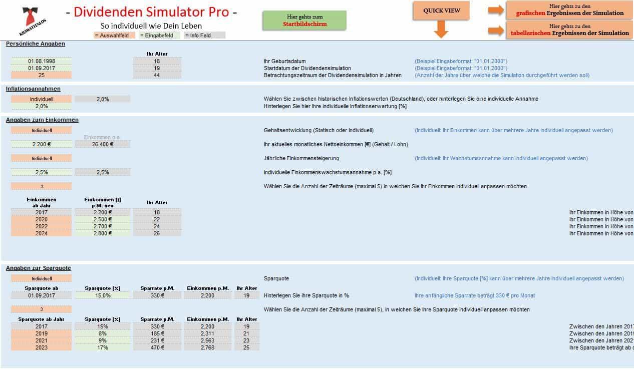 Dividenden Simulator Pro - Eingabemaske
