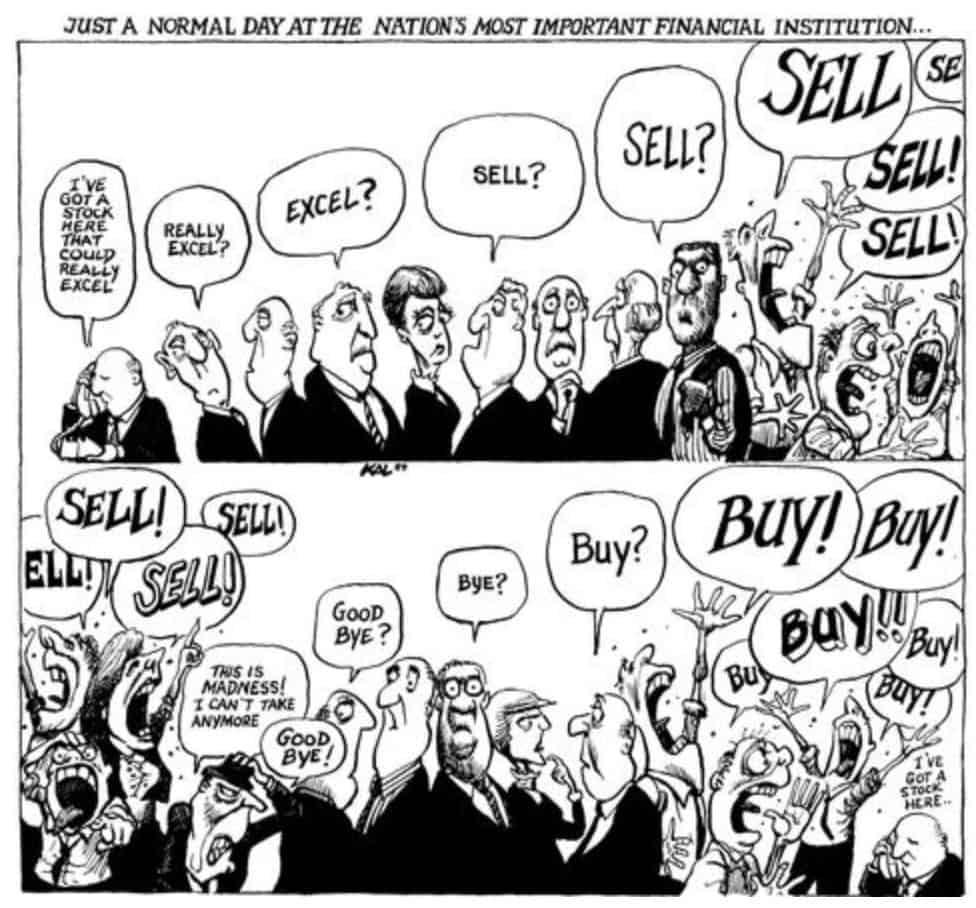 Das bild von Kal aus dem Jahr 1989 beschreibt das Auf und Ab an der Börse! Wer an der Börse die Ruhe bewahrt gehört hier langfristig zu den Gewinnern!